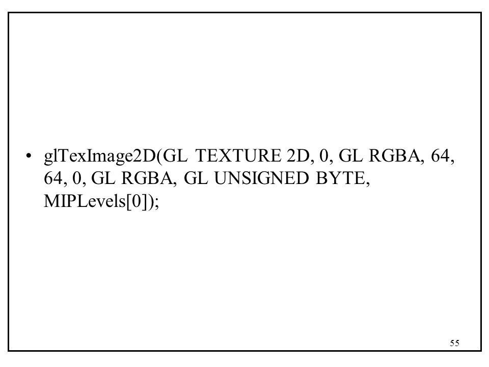 glTexImage2D(GL TEXTURE 2D, 0, GL RGBA, 64, 64, 0, GL RGBA, GL UNSIGNED BYTE, MIPLevels[0]);